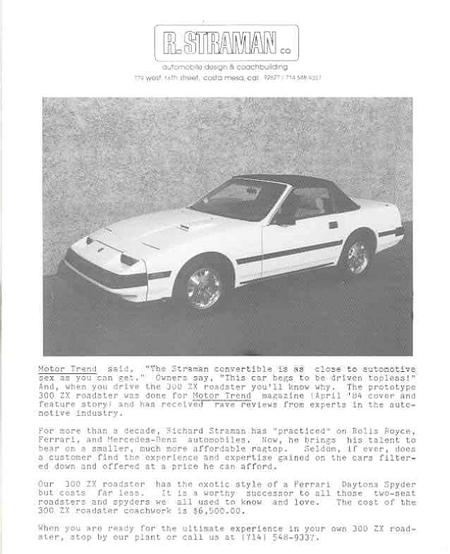 300zx Turbo Wiki: XenonZcar.com Z31 R. Straman Co. 300zx Convertible Conversions